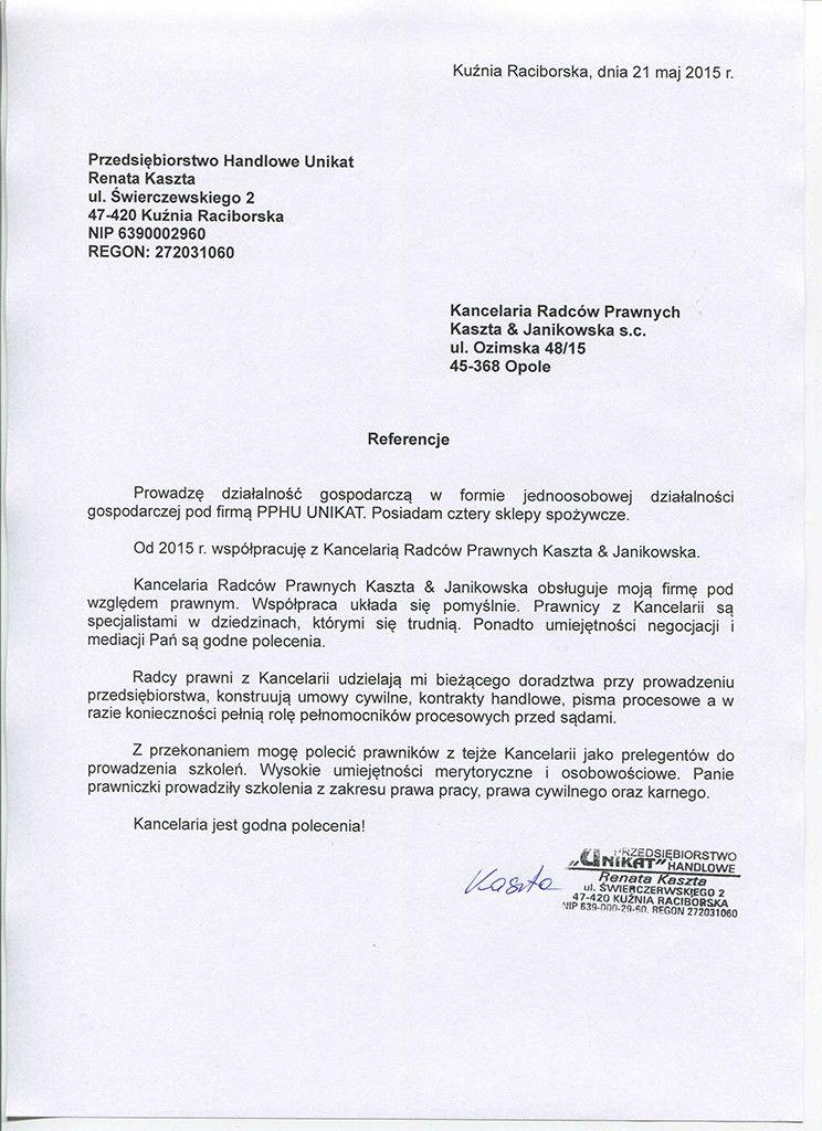 Kaszta Janikowska referencje